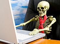 Work Till You Drop - a skeleton at work